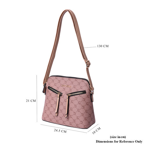 LOCK SOUL Camel Crossbody Bag with Zipped Two Front Pockets