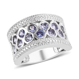 1.50 Ct Tanzanite Band Ring in Platinum Plated Sterling Silver 6.70 Grams