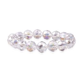 White Mystic Color Glass Beaded Bracelet 6.5 Inch