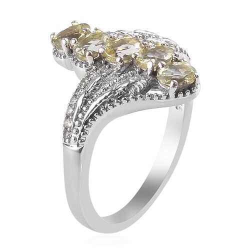 AA Madagascar Yellow Apatite and Natural Cambodian Zircon Crossover Ring in Platinum Overlay Sterling Silver 1.158 Ct.