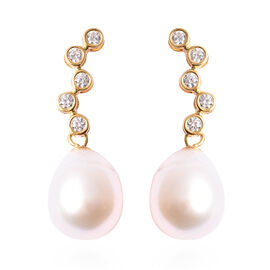 Freshwater White Pearl and Simulated Diamond Drop Earrings (with Push Back) in Rhodium Overlay Sterl