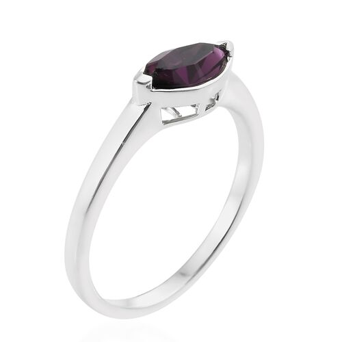 J Francis Crystal from Swarovski - Amethyst Colour Crystal (Mrq) Solitaire Ring in Sterling Silver