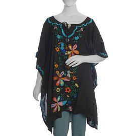 Designer Inspired- Hand Embroidery Kaftan (Size 88x102 Cm) - Black Colour
