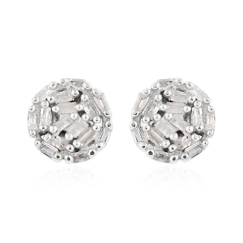 Diamond (Bgt) Earrings (with Push Back) in Platinum Overlay Sterling Silver 0.200 Ct.