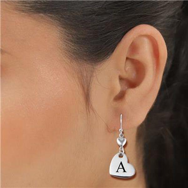 Personalised Engravable Double Heart Drop Earrings in Silver Tone
