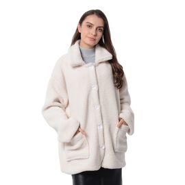 New Season Designer Inspired Teddy Faux Fur Coat in Off White