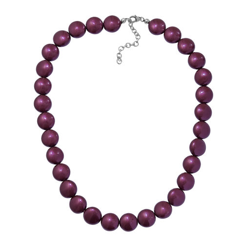 J Francis Black Berry Pearl Swarovski Crystal Beaded Necklace in Sterling Silver Size 18 Inch