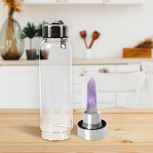 Amethyst Crystal Elixir Glass Water Bottle with Stainless Steel Cap (Size 25.5x6.5 Cm) with Travel Case