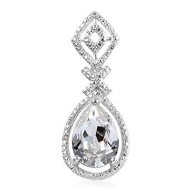 J Francis White Crystal from Swarovski and Diamond Drop Pendant in Sterling Silver