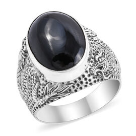 Royal Bali 14.80 Ct Boi Ploi Black Spinel Solitaire Ring in Silver 11.91 grams