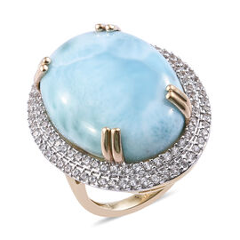 Super Auction- 9K Yellow Gold AAA Larimar (Ovl 25x18 mm), Natural Cambodian Zircon Ring 31.000 Ct, Gold wt 6.20 Gms