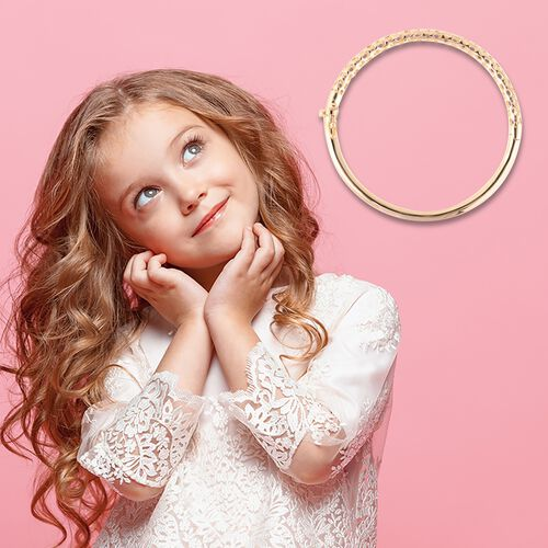 RACHEL GALLEY Yellow Gold Overlay Sterling Silver Allegro Kids Bangle (Size 6.2), Silver wt 14.21 Gms