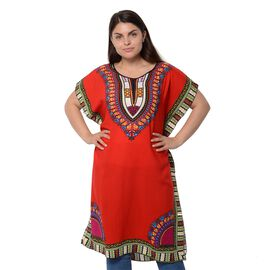 100% Cotton Red Colour Africa Addio Pattern Poncho (Size 104x73.6 Cm)