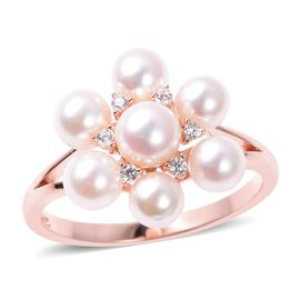 Japanese Akoya Pearl and Zircon Floral Ring in Rose Gold Plated Silver