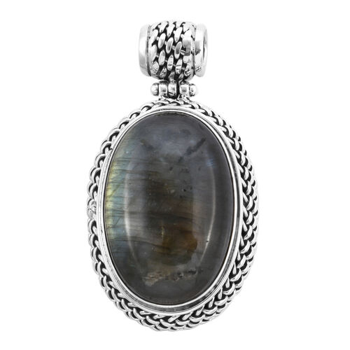 Royal Bali Collection 42 Carat Labradorite Solitaire Pendant in Sterling Silver 13.70 Grams