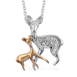 Diamond Mother and Baby Deer Pendant with Chain in Platinum and Gold Plated Sterling Silver 20 Inch