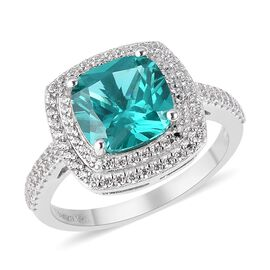 Signature Collection- ELANZA AAAA Simulated Colombian Emerald (Cush), Simulated Diamond Ring in Rhod
