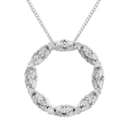 Diamond (Rnd and Bgt) Circle of Life Pendant with Chain in Platinum Overlay Sterling Silver 0.500 Ct.