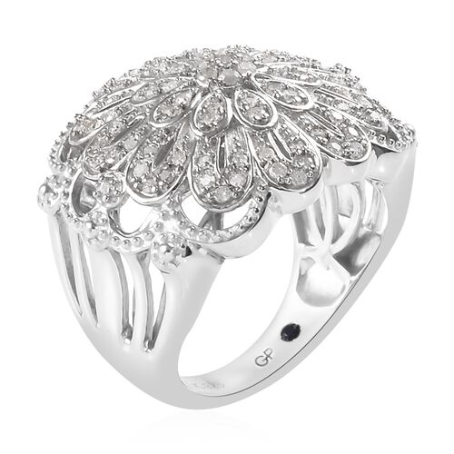 GP Diamond (Rnd), Blue Sapphire Floral Ring in Platinum Overlay Sterling Silver 0.52 Ct, Silver wt 7.50 Gms