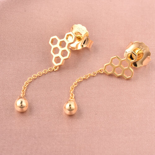 LucyQ Yellow Gold Overlay Sterling Silver Honeycomb Dangle Earrings (with Push Back)