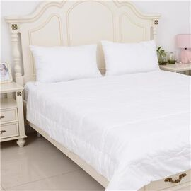Premium Quality 100% Mulberry Silk Filled Cotton Duvet in King Size (220x225 cm) - White