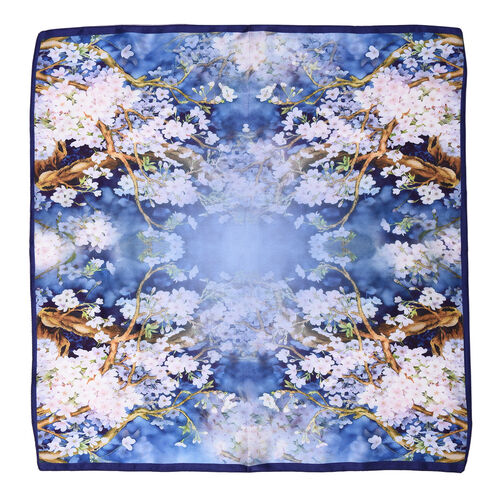 LA MAREY Pure 100% Mulberry Silk Scarf with Velvet Drawstring Pouch in Cherry Blossom Print  - Blue (Size 52x52cm)