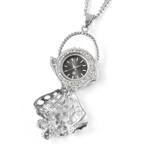 STRADA Japanese Movement Crystal Studded Hollow Flower Basket Locket Watch with Chain (Size 29 with 3 inch Extender)