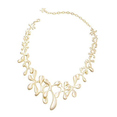 LucyQ Yellow Gold Overlay Sterling Silver Splash Necklace (Size 15 with 5 inch Extender), Silver wt 73.79 Gms