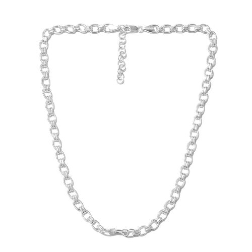Close Out Deal- High Polished Sterling Silver Oval Belcher Necklace (Size 18 and 2 inch Extender), Silver wt 20.98 Gms.