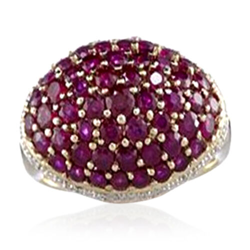 Burmese Ruby (Rnd) Cluster Ring in 14K Gold Overlay Sterling Silver 2.500 Ct.