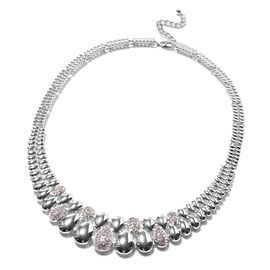 White Austrian Crystal Necklace (Size - 20 with 2 inch Extender) in Silver Tone