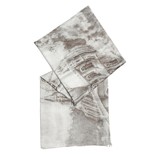 Brown and Off White Colour Digital Printed Scarf (Size 200x70 Cm)