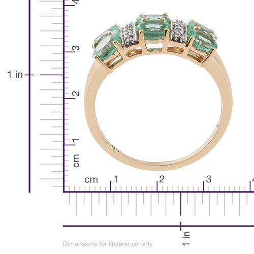 Limited Edition - 9K Y Gold Boyaca Colombian Emerald (Ovl), Natural Cambodian Zircon Ring 2.000 Ct.