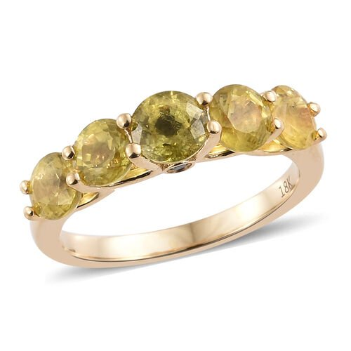 ILIANA 18K Yellow Gold AAA Chanthaburi Yellow Sapphire (Rnd), Diamond (SI/ G-H) Ring 2.600 Ct.
