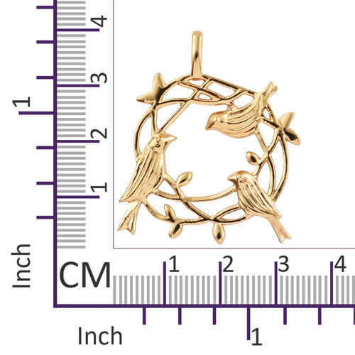 14K Gold Overlay Sterling Silver Birds Nest Pendant