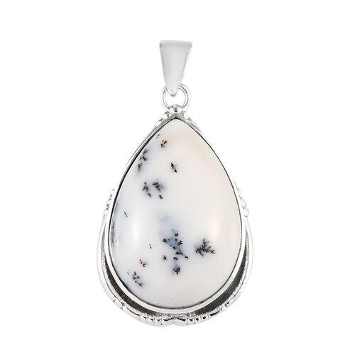 37.17 Ct Dendritic Agate Solitaire Pendant in Silver