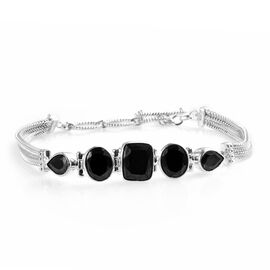 Elite Shungite (Cush 11x9 mm) Bracelet (Size 7.5 to 8.5) in Sterling Silver 7.25 Ct. Silver wt. 13.0
