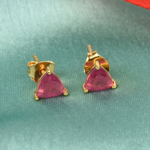 African Ruby Stud Earrings (with Push Back) in 14K Gold Overlay Sterling Silver 2.00 Ct.