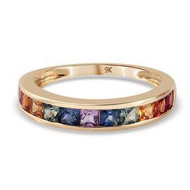 9K Yellow Gold Rainbow Sapphire Half-Eternity Band Ring 1.05 Ct.