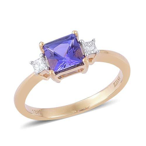 ILIANA 18K Yellow Gold AAA Tanzanite (Sqr 1.05 Ct), Diamond Ring 1.200 Ct.