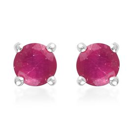 African Ruby Stud Earrings (with Push Back) in Sterling Silver