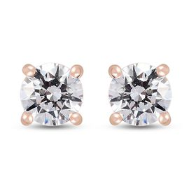 J Francis - Rose Gold Overlay Sterling Silver Stud Earrings (with Push Back) Made with SWAROVSKI ZIR