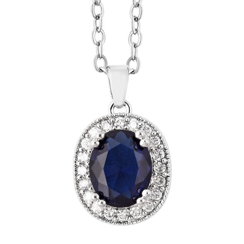 3 Piece Set- Simulated Tanzanite and Simulated White Diamond Ring, Earrings (with Clasp) and Pendant With Chain (Size 18 with 3 inch Extender) in Silver Tone