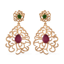 GP 3.5 Ct African Ruby and Diopside Drop Earrings in Gold Plated Sterling Silver 8.18 Grams