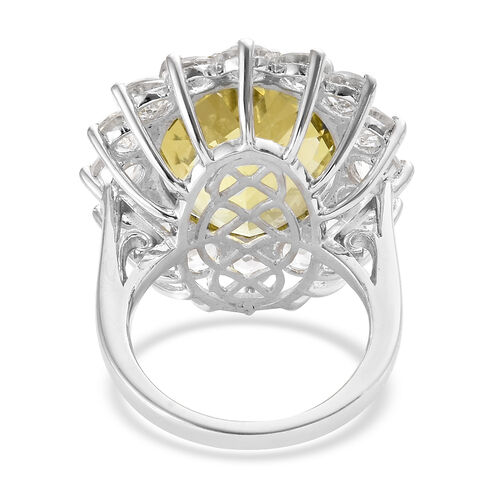 Natural Green Gold Quartz  Quartz (Ovl 20x15 mm), White Topaz Ring in Platinum Overlay Sterling Silver 21.500 Ct
