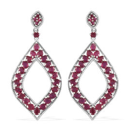 African Ruby (Pear 9.50 Ct) Earrings (with Push Back) in Platinum Overlay Sterling Silver 10.000 Ct.