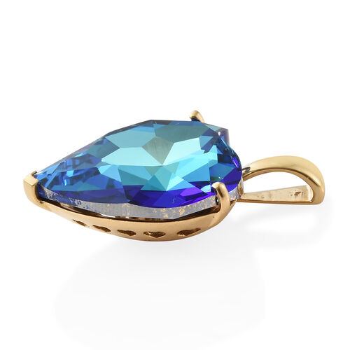 J Francis - Crystal from Swarovski - Swarovski Bermuda Blue Crystal (Hrt 28 mm) Pendant in 14K Gold Overlay Sterling Silver