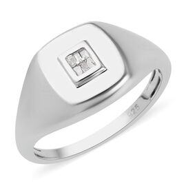 Diamond Signet Ring in Platinum Overlay Sterling Silver
