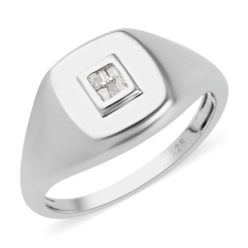 Diamond Signet Ring in Platinum Overlay Sterling Silver