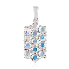 J Francis - Crystal from Swarovski AB Crystal (Rnd) Cluster Pendant in Sterling Silver